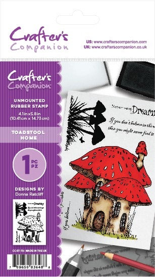 Crafter's Companion, A6 Rubber Stamp, Toadstool Home
