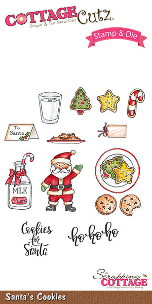 CottageCutz Stamp & Die Set, Santa's Cookies - Scrapbooking Fairies
