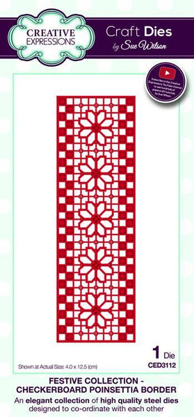 Creative Expressions, Festive Collection Checkerboard, Poinsettia Border
