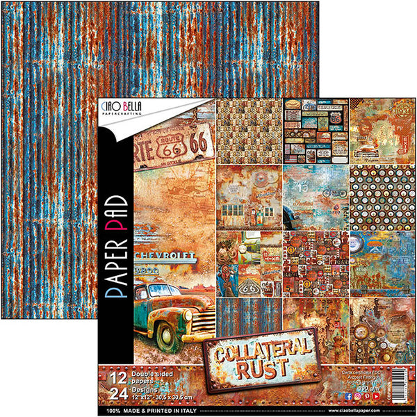 "Ciao Bella Double-Sided Paper Pack 90lb 12""X12"" 12/Pkg, Collateral Rust, 12 Designs/2 Each"