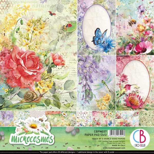 "Ciao Bella Double-Sided Paper Pack 90lb 12""X12"" 12/Pkg, Microcosmos, 12 Designs/1 Each"