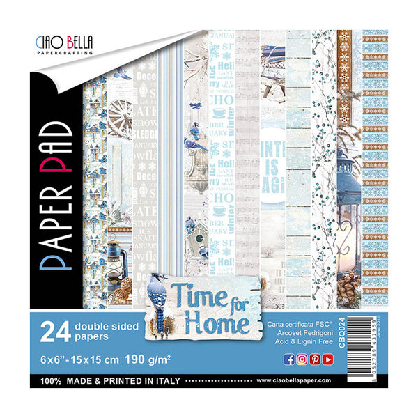"Ciao Bella Double-Sided Paper Pack 90lb 6""X6"" 24/Pkg, Time For Home, 12 Designs/2 Each"