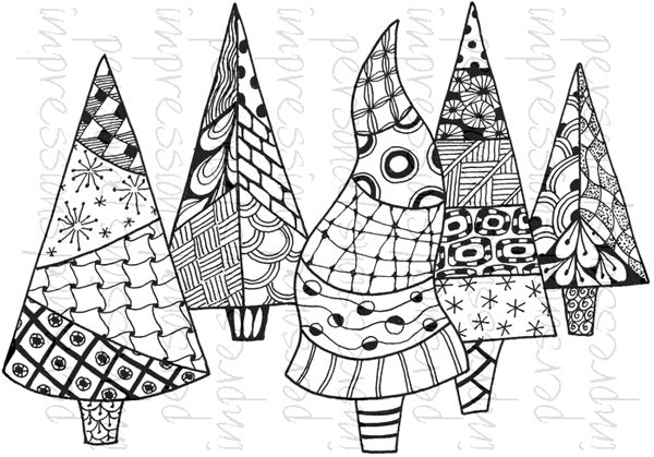 Lindsay Mason Designs, Zendoodle Trees Ready To Go Clear Stamp - Scrapbooking Fairies