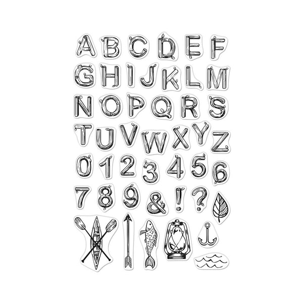 "Hero Arts Clear Stamps 4""X6"", Log Letters and Numbers"
