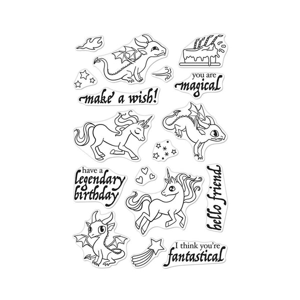 "Hero Arts Clear Stamps 4""X6"", Dragons & Unicorns"