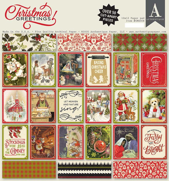 "Authentique Double-Sided Cardstock Pad 12""X12"" 18/Pkg, Christmas Greetings"