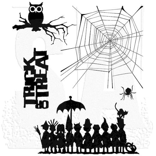 "Tim Holtz Cling Stamps 7""X8.5"", Halloween Cutouts"