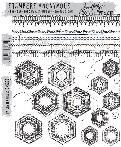 "Tim Holtz Cling Stamps 7""X8.5"", Patchwork Pieces"