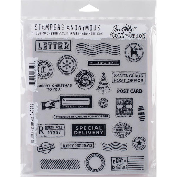 "Tim Holtz Cling Stamps 7""X8.5"", Holiday Postmarks"