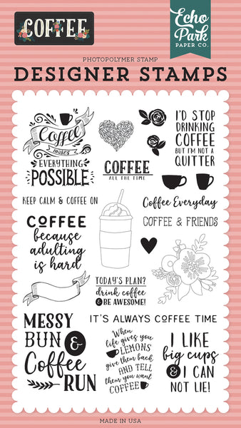 Echo Park Paper, Coffee, Coffee Time, Clear Stamps
