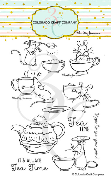 "PRE-ORDER, Colorado Craft Company, Clear Stamps 4""X6"", Tea Time-By Anita Jeram"