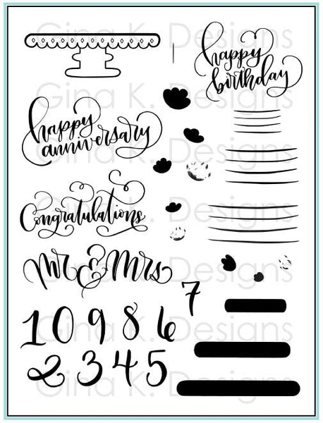 Gina K. Designs, Clear Stamps, Cake Toppers Stamp Set by Emily Loggans