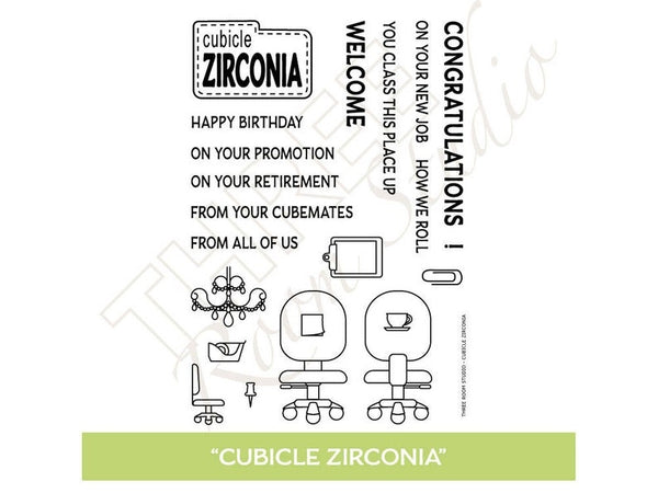 "Three Room Studio, ""Cubicle Zirconia"" Clear Stamp Set"