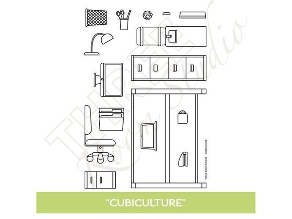 "Three Room Studio, ""Cubiculture"" Clear Stamp Set"