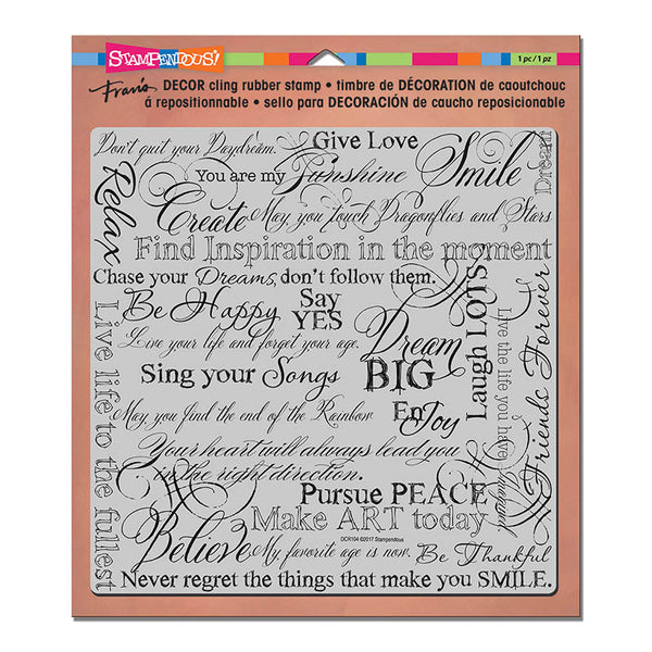 "Stampendous, 8""x 8"" Cling Stamp, Decor Dream"