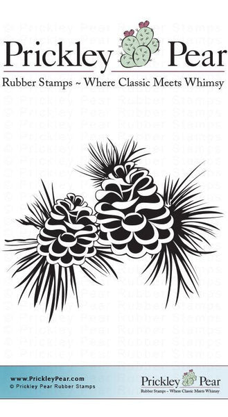 Prickley Pear, 2 Pinecones - Red Rubber Stamp