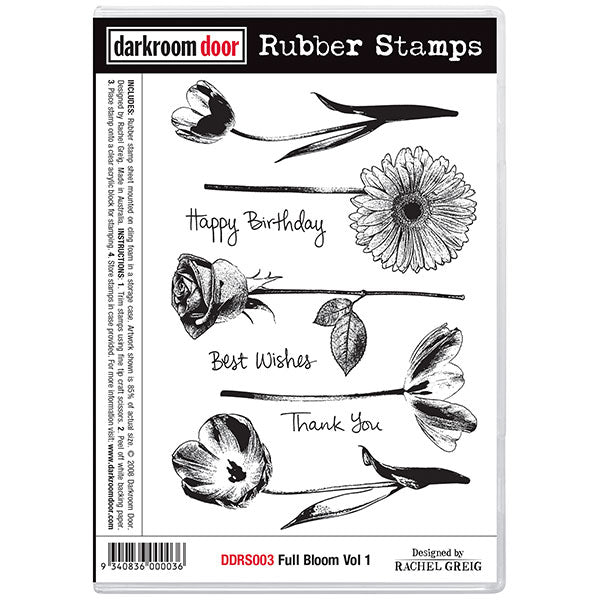 "Darkroom Door Cling Stamps 7""X5"", Full Bloom Vol 1"