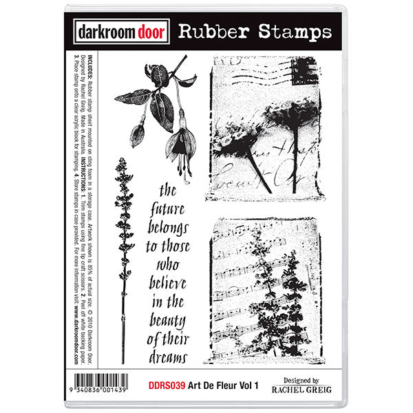 "Darkroom Door Cling Stamps 7""X5"", Art De Fleur Vol 1"