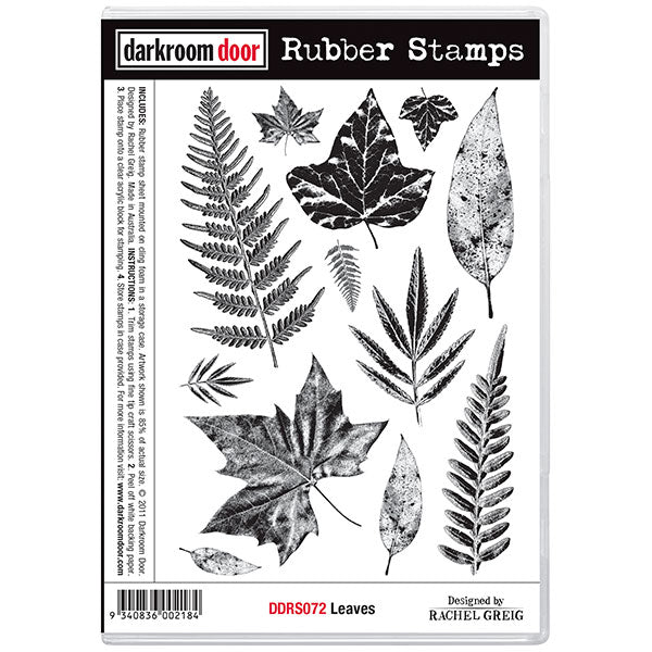 "Darkroom Door Cling Stamps 7""X5"", Leaves"