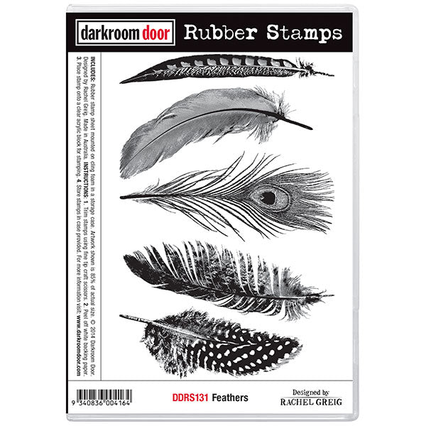 "Darkroom Door Cling Stamps 7""X5"", Feathers"