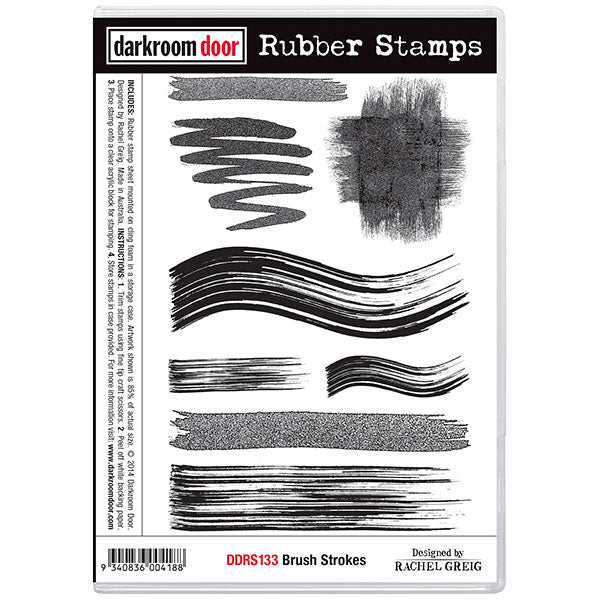 "Darkroom Door Cling Stamps 7""X5"", Brush Strokes"