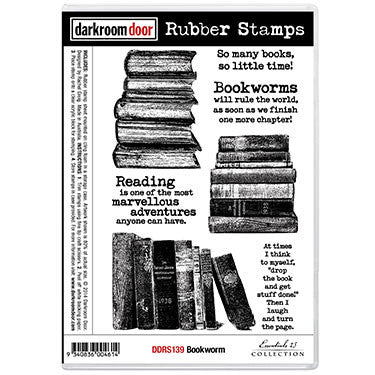 Darkroom Door - Rubber Stamp Set - Bookworm  (Reserved) - Scrapbooking Fairies