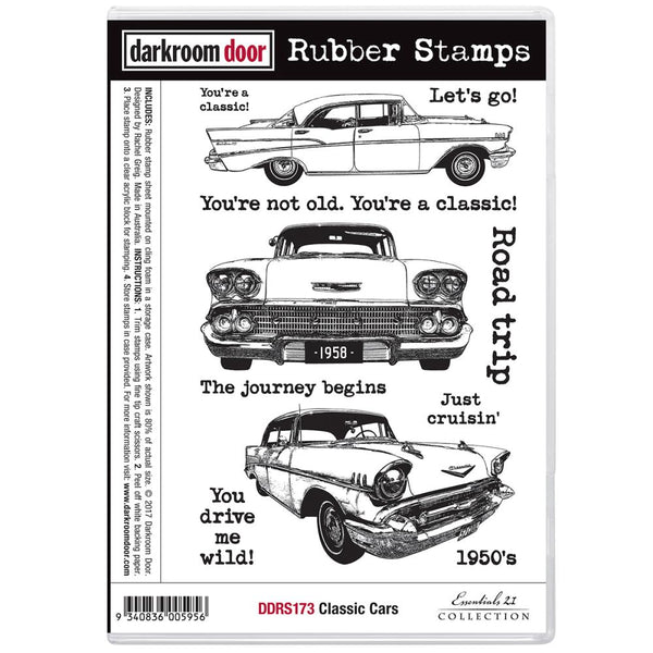 "Darkroom Door Cling Stamps 7""X5"", Classic Cars"