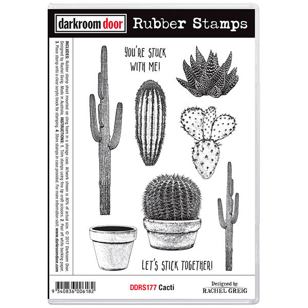 "Darkroom Door Cling Stamps 7""X5"", Cacti"