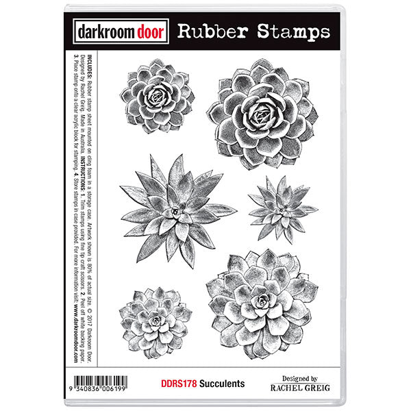 "Darkroom Door Cling Stamps 7""X5"", Succulents"