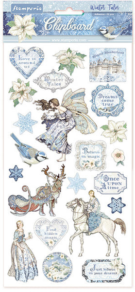 "Stamperia Adhesive Chipboard 6""X12"", Winter Tales"