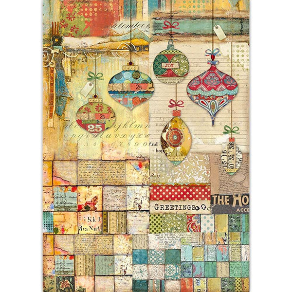 Stamperia Rice Paper Sheet A3, Patchwork Balls