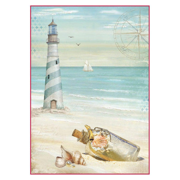 Stamperia, A4 Decoupage Rice Paper Packed Sea Land lighthouse - Scrapbooking Fairies