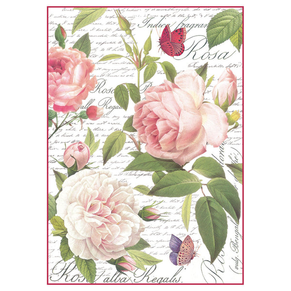 Stamperia, A4 Decoupage Rice Paper Packed Vintage rose - Scrapbooking Fairies