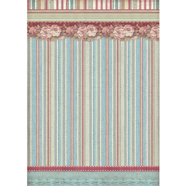 Stamperia Rice Paper Sheet A4, Striped Wallpaper