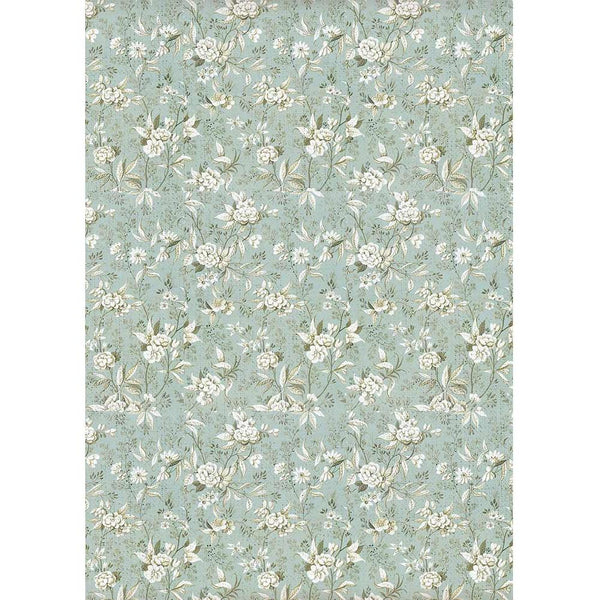 Stamperia Rice Paper Sheet A4, Jasmine On Light Blue Background