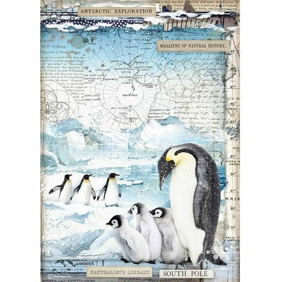 Stamperia Rice Paper Sheet A4, Penguins, Arctic Antarctic