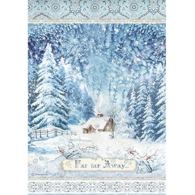 Stamperia Rice Paper Sheet A4, Winter Tales - Far Far Away