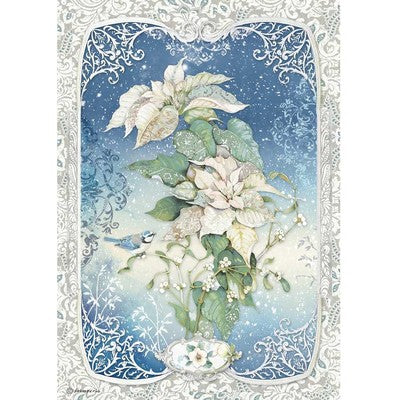 Stamperia Rice Paper Sheet A4, Winter Tales - Poinsettia