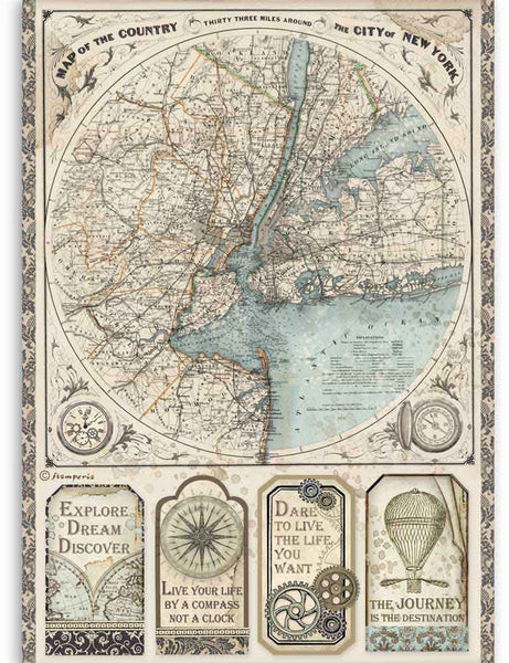 Stamperia Rice Paper Sheet A4,  Sir Vagabond - Map of New York