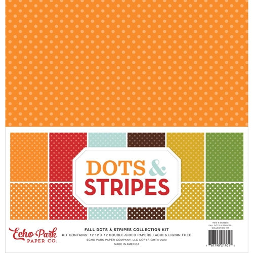"Echo Park Double-Sided Collection Pack 12""X12"" 12/Pkg, Fall Dots & Stripes, 12 Designs"