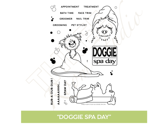 "Three Room Studio, ""Doggie Spa Day"" Clear Stamp Set"