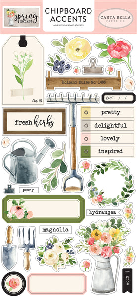 "Echo Park, Spring Market Chipboard 6""X13"", Accents - Scrapbooking Fairies"