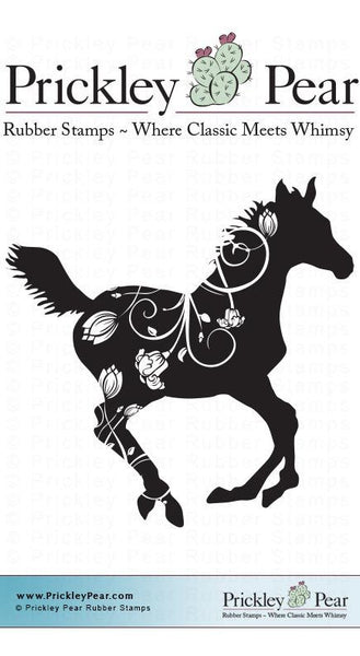 Prickley Pear, Flourished Horse - Red Rubber Stamp - Scrapbooking Fairies