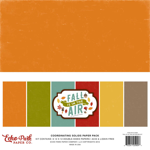 "Echo Park Double-Sided Solid Cardstock 12""X12"" 6/Pkg, Fall Is In The Air"