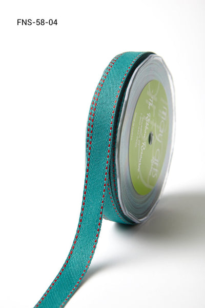 5/8 Inch Twill Ribbon w/ Red Stitched Edge Ribbon, Teal with Red Stitch - Scrapbooking Fairies