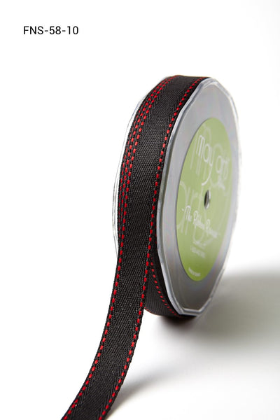 5/8 Inch Twill Ribbon w/ Red Stitched Edge Ribbon, Black w/ Red Stitch - Scrapbooking Fairies