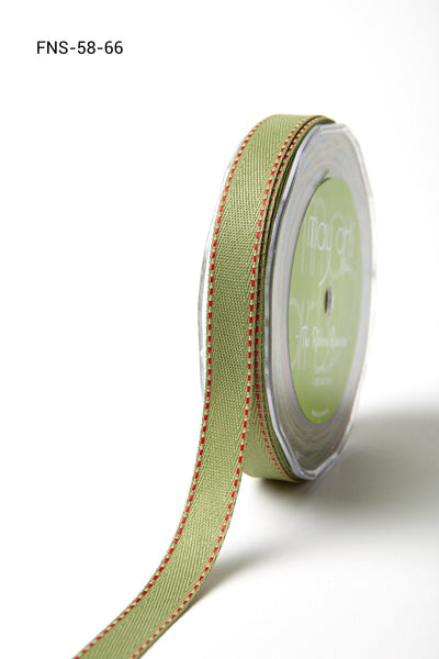 5/8 Inch Twill Ribbon w/ Red Stitched Edge Ribbon, Sage Green with Red Stitch - Scrapbooking Fairies