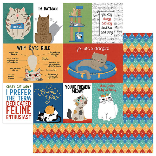 "Whiskers Double-Sided Cardstock 12""X12"", Cats Rule"