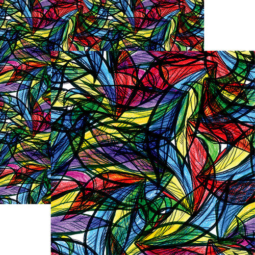 Ella and Viv Paper - Stained Glass Collection - 12 x 12 Double Sided Paper - Feathers