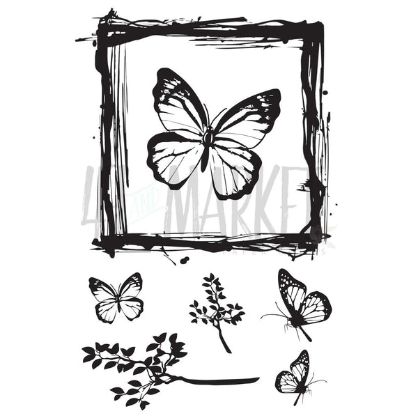 "49 & Market, Clear Stamps 4""X6"", Gerry's Butterfly Stamp Set"